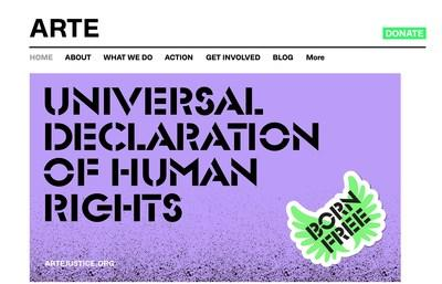 Website created for the nonprofit organization ARTE Justice as part of the Social Good Project