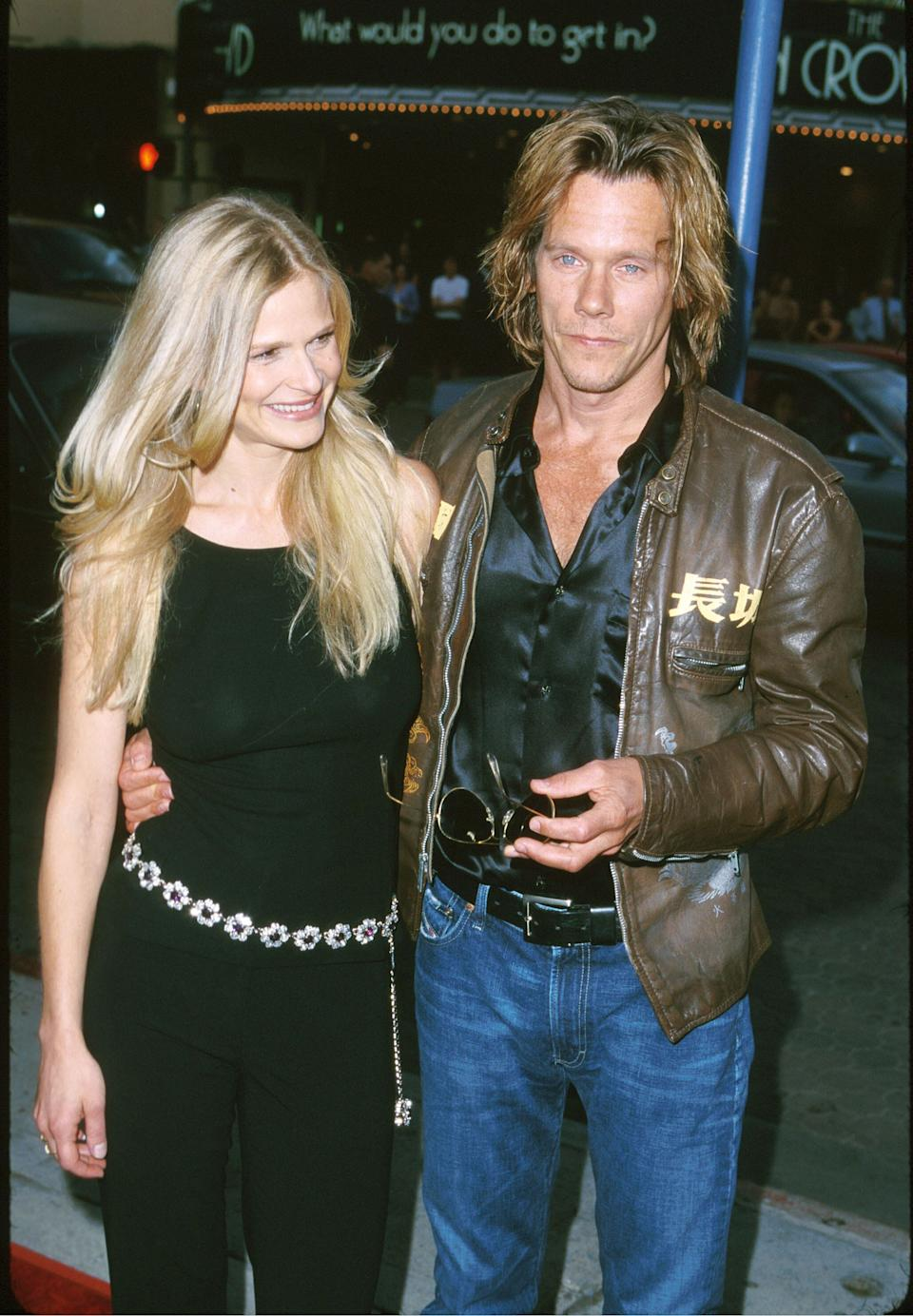 """Sedgwick and Bacon attend the """"Hollow Man"""" premiere at Mann Village Theatre in Westwood, California."""