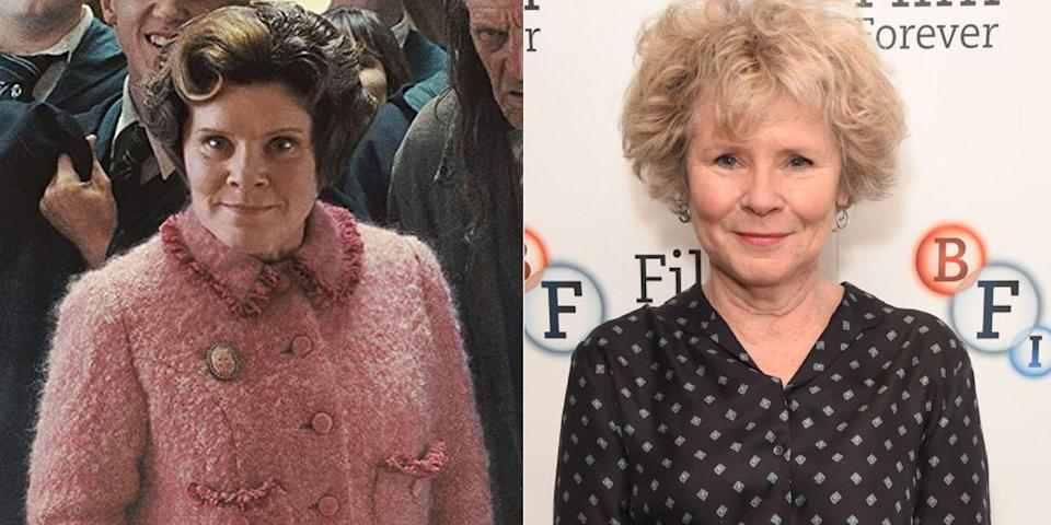 """<p><strong>First Film: </strong><em>Harry Potter and the O</em><em>rder of the </em><em>Phoenix</em></p><p><strong>Character Played: </strong>Dolores Umbridge</p><p><strong>Age: </strong>64</p><p>In January, it was announced that <a href=""""https://www.oprahdaily.com/entertainment/tv-movies/a30728358/the-crown-season-5-cast-release-date-photos-news/"""" rel=""""nofollow noopener"""" target=""""_blank"""" data-ylk=""""slk:season 5 of Netflix's The Crown"""" class=""""link rapid-noclick-resp"""">season 5 of Netflix's <em>The Crown</em></a> would officially be its last. And who's playing the main role of Queen Elizabeth II? None other than Staunton.</p>"""