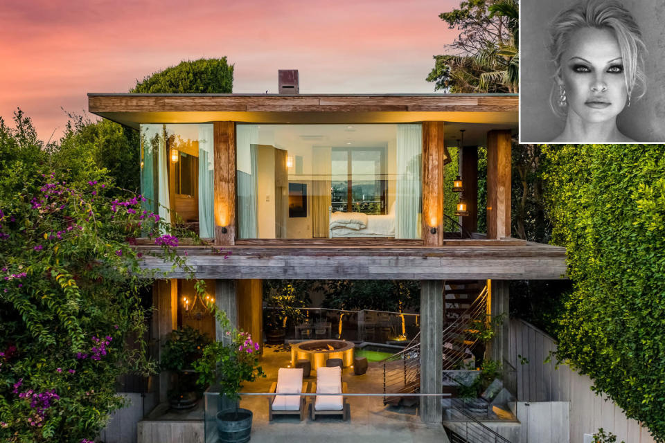 """<p><strong>Location:</strong> Malibu, California</p> <p>In early March, PEOPLE exclusively announced that the <em>Baywatch</em> star, 53, had put her four-bedroom, four-and-a-half-bath oceanfront spread — which she has called home for over two decades — on the market for an asking price of $14.9 million.</p> <p>The actress purchased the home for $1.8 million in 2000, the <a href=""""https://www.latimes.com/business/real-estate/story/2021-03-05/pamela-anderson-eyes-14-9-million-for-malibu-beach-house"""" rel=""""nofollow noopener"""" target=""""_blank"""" data-ylk=""""slk:Los Angeles Times"""" class=""""link rapid-noclick-resp""""><em>Los Angeles Times</em></a> reported, and first tried to sell it in 2013, asking $7.75 million. </p> <p>After <a href=""""https://people.com/movies/pamela-anderson-ties-the-knot-to-bodyguard-dan-hayhurst/"""" rel=""""nofollow noopener"""" target=""""_blank"""" data-ylk=""""slk:secretly marrying"""" class=""""link rapid-noclick-resp"""">secretly marrying</a> her bodyguard Dan Hayhurst on Christmas Eve, she is now heading north to her home country of Canada, where the newlyweds will reside on her grandmother's former property on Vancouver Island — a home Anderson purchased for her three decades ago.</p> <p><a href=""""https://people.com/home/pamela-anderson-lists-malibu-mansion-after-surprise-wedding/"""" rel=""""nofollow noopener"""" target=""""_blank"""" data-ylk=""""slk:See more photos of Pamela Anderson's home."""" class=""""link rapid-noclick-resp"""">See more photos of Pamela Anderson's home.</a> </p>"""