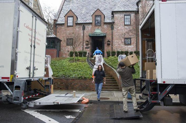 The Obamas have already started moving into their rented house in the Kalorama neighborhood of Washington.