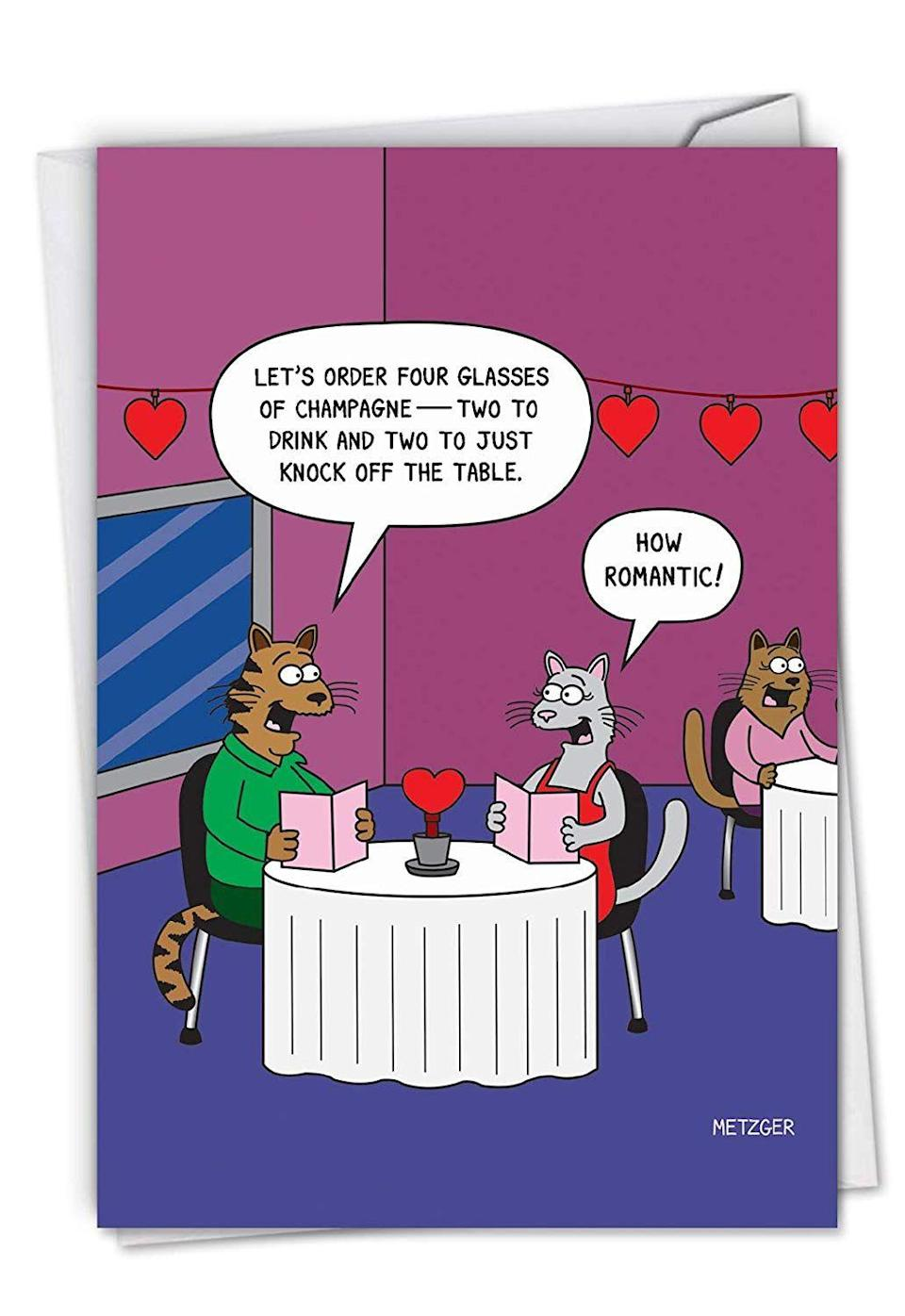 "<p>The inside of this cat card is quite cleverly completed with, ""Wishing You a Purr-fectly Romantic Valentine's Day!""</p><br><br><strong>NobleWorks</strong> Valentine's Day Card With Envelope, $5.25, available at <a href=""https://www.amazon.com/2151-Never-Find-Your-Body/dp/B07GXGR4B7/ref=sr_1_7?ie=UTF8&qid=1548438718&sr=8-7&keywords=valentines%2Bday%2Bcard&th=1"" rel=""nofollow noopener"" target=""_blank"" data-ylk=""slk:Amazon"" class=""link rapid-noclick-resp"">Amazon</a>"