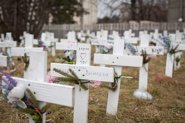 Crosses representing residents who died of COVID-19 are pictured on the lawn of Camilla Care Community, in Mississauga, Ont., on Jan. 13, 2021. The long term care home is among Ontario's hardest-hit by the pandemic. (Evan Mitsui/CBC - image credit)