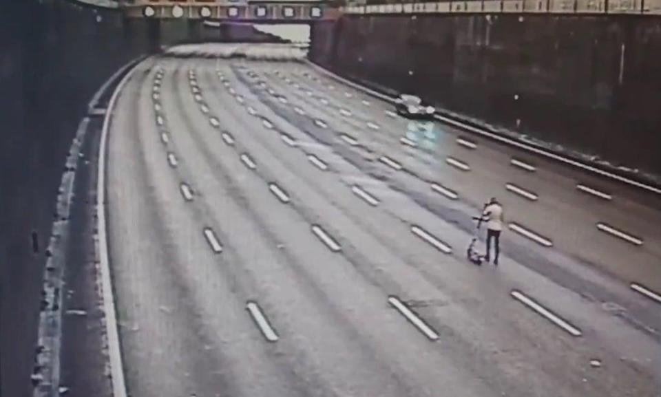 The e-scooter was spotted on the motorway (CMPG/PA)