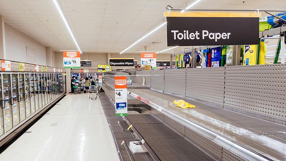 Woolworths empty toilet paper aisle