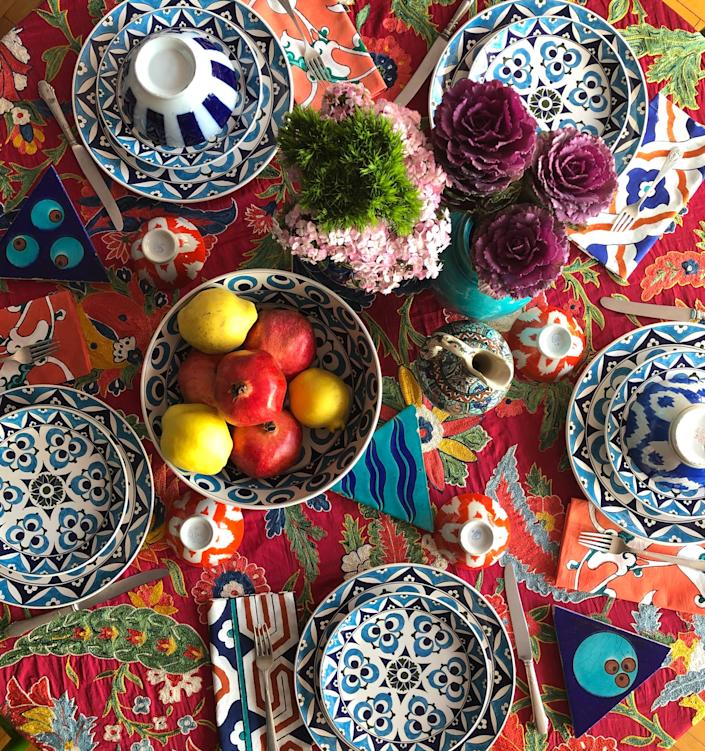"<div class=""caption""> Some of Tamam's Murad plates on a colorfully set table. </div> <cite class=""credit"">Photo: Courtesy of Tamam</cite>"