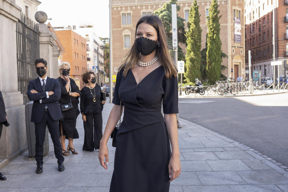 Esther Doña arrive at the Royal Basilica of Francis the Great to attend a mass in memory of Carlos Falco, who died on March 20, 2020, on June 28, 2021, in Madrid, Spain.  (Photo by Oscar Gonzalez/NurPhoto via Getty Images)