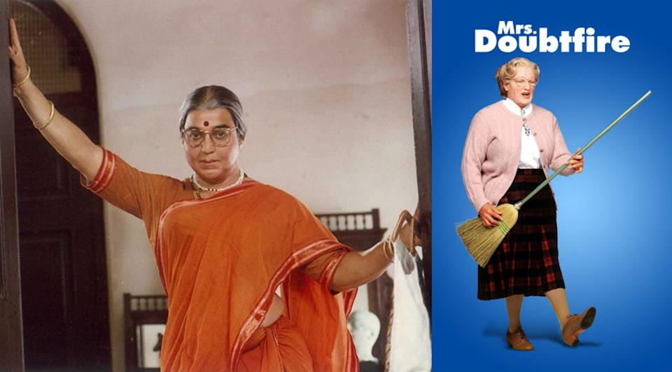 Directed by Kamal Hassan, who also acted as the lead in the movie, Chachi 420, 'inspired' by Robin Williams' Mrs. Doubtfire, has been watched and loved by every 90s kid. The plot of the movie is about an actor, who after a bitter divorce, disguises himself as a female housekeeper to spend time with his children held in custody by his former wife. Robin Williams won many awards for his role, including a Golden Globe.