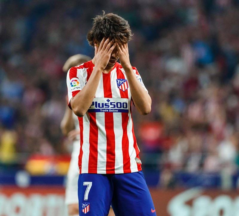 MADRID, SPAIN - SEPTEMBER 28: Joao Felix Sequeira of Atletico de Madrid looks dejected during the Liga match between Club Atletico de Madrid and Real Madrid CF at Wanda Metropolitano on September 28, 2019 in Madrid, Spain. (Photo by TF-Images/Getty Images)