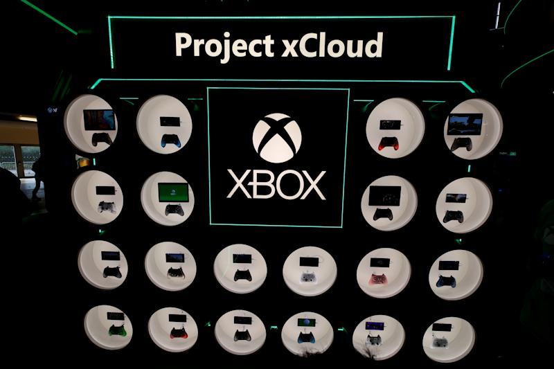 Controllers of Microsoft's cloud-based computer games Project X Cloud are pictured during Europe's leading digital games fair Gamescom, which showcases the latest trends of the computer gaming scene in Cologne, Germany, August 21, 2019. REUTERS/Wolfgang Rattay