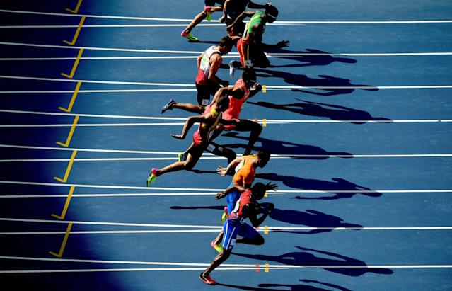 <p>A view of competitors during the Men's Decathlon 100m – Heat 1 on Day 12 of the Rio 2016 Olympic Games at the Olympic Stadium on August 17, 2016 in Rio de Janeiro, Brazil. (Photo by Matthias Hangst/Getty Images) </p>