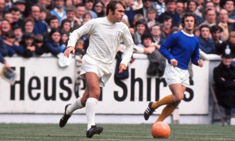 Terry Cooper, left, on the pitch for Leeds United against Everton in 1970.