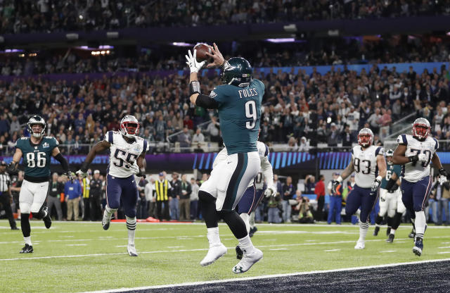 "Nick Foles catches a touchdown pass to complete the now-famous ""Philly Special"" play during the Super Bowl. (AP Photo)"