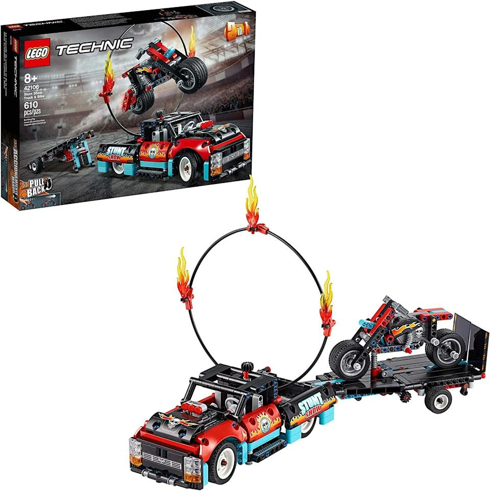 <p>The <span>Lego Technic Stunt Show Truck and Bike</span> ($50) has 610 pieces and is best suited for kids ages 8 and up.</p>