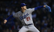 Los Angeles Dodgers starter Walker Buehler delivers a pitch during the first inning of a baseball game against The Chicago Cubs Wednesday, April 24, 2019, in Chicago. (AP Photo/Paul Beaty)