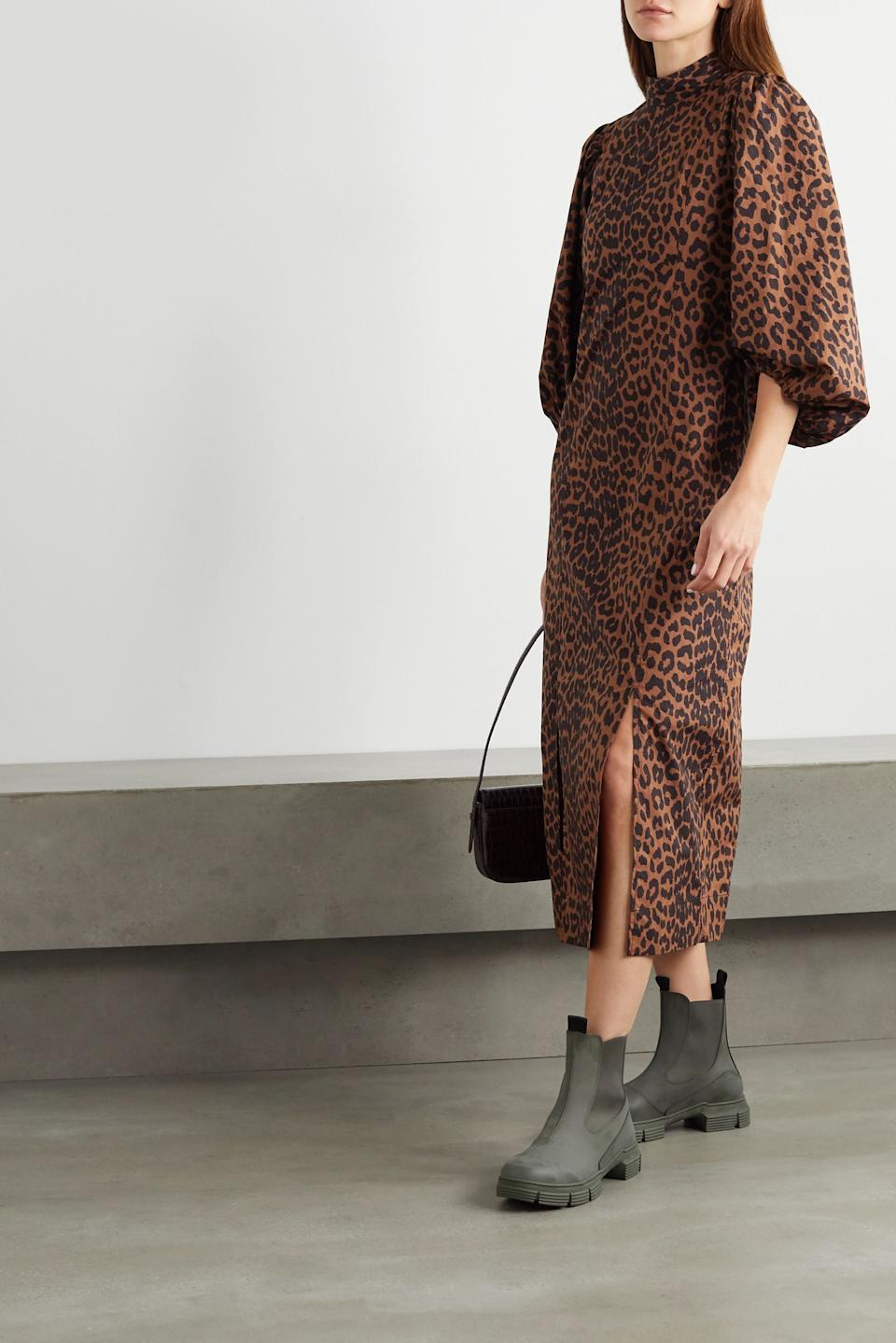 "<br><br><strong>Ganni</strong> Leopard-print Organic Midi Dress, $, available at <a href=""https://go.skimresources.com/?id=30283X879131&url=https%3A%2F%2Fwww.net-a-porter.com%2Fen-us%2Fshop%2Fproduct%2Fganni%2Fnet-sustain-leopard-print-organic-cotton-poplin-midi-dress%2F1248683%3F"" rel=""nofollow noopener"" target=""_blank"" data-ylk=""slk:Net-A-Porter"" class=""link rapid-noclick-resp"">Net-A-Porter</a>"