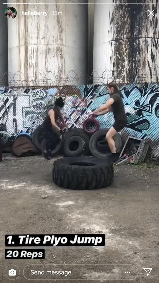 """<p>Start off with 20 reps of tire jumps, which are exactly the same as <a rel=""""nofollow"""" href=""""https://www.popsugar.com/fitness/How-Do-Box-Jump-31353638"""">doing box jumps</a> . . . but onto the tire.</p>"""