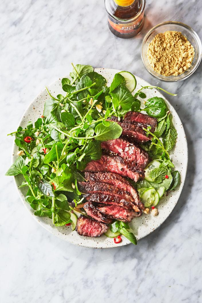 """<a href=""""https://www.bonappetit.com/recipe/steak-with-tangy-sauce-and-watercress-salad?mbid=synd_yahoo_rss"""" rel=""""nofollow noopener"""" target=""""_blank"""" data-ylk=""""slk:See recipe."""" class=""""link rapid-noclick-resp"""">See recipe.</a>"""