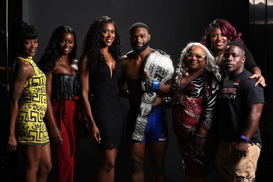 ATLANTA, GA - JULY 30:  Tyron Woodley poses for a post fight portrait with his family backstage during the UFC 201 event on July 30, 2016 at Philips Arena in Atlanta, Georgia. (Photo by Mike Roach/Zuffa LLC/Zuffa LLC via Getty Images)