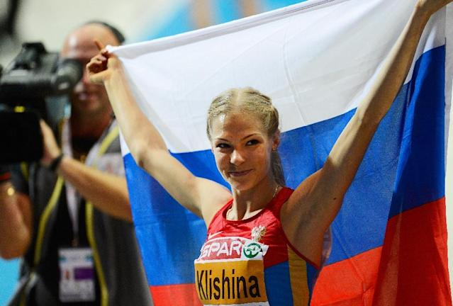 Media reports have said two bottles of Darya Klishina's urine samples had been tampered with and one of the samples contained two different kinds of DNA (AFP Photo/Jonathan Nackstrand)