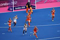 Marilyn Agliotti of Netherlands competes during the Women's Pool WA Match W02 between the Netherlands and Belgium at the Hockey Centre on July 29, 2012 in London, England. (Photo by Daniel Berehulak/Getty Images)