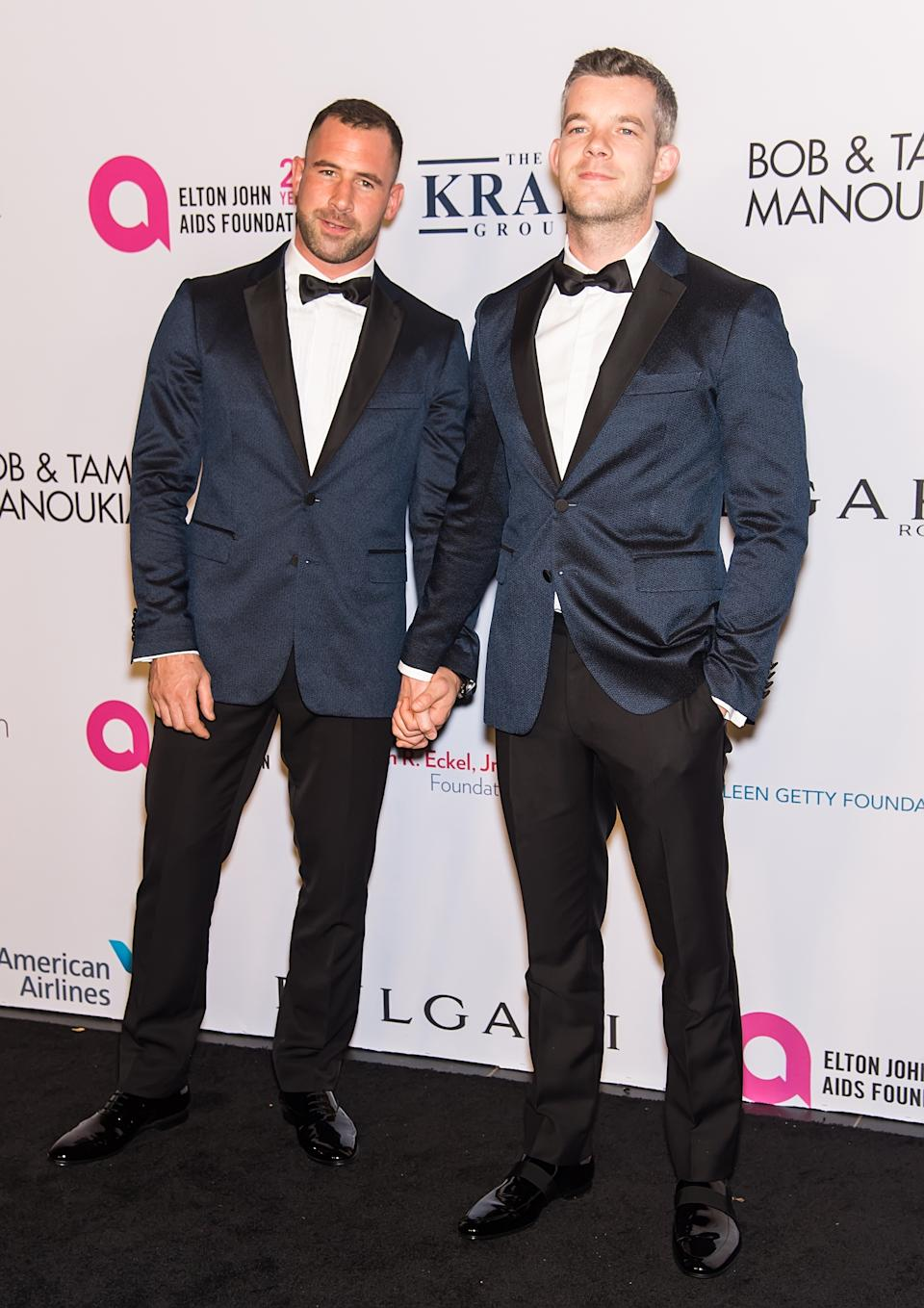 Russell Tovey (R) and Steve Brockman attend Elton John AIDS Foundation Commemorates Its 25th Year And Honors Founder Sir Elton John During New York Fall Gala at Cathedral of St. John the Divine on November 7, 2017 in New York City.  (Photo by Gilbert Carrasquillo/FilmMagic)