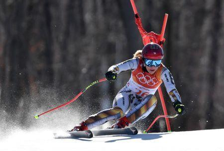 Feb 17, 2018; Pyeongchang, South Korea; Ester Ledecka (CZE) competes in the alpine skiing Super-G event during the Pyeongchang 2018 Olympic Winter Games at Jeongseon Alpine Centre. Mandatory Credit: Eric Bolte-USA TODAY Sports