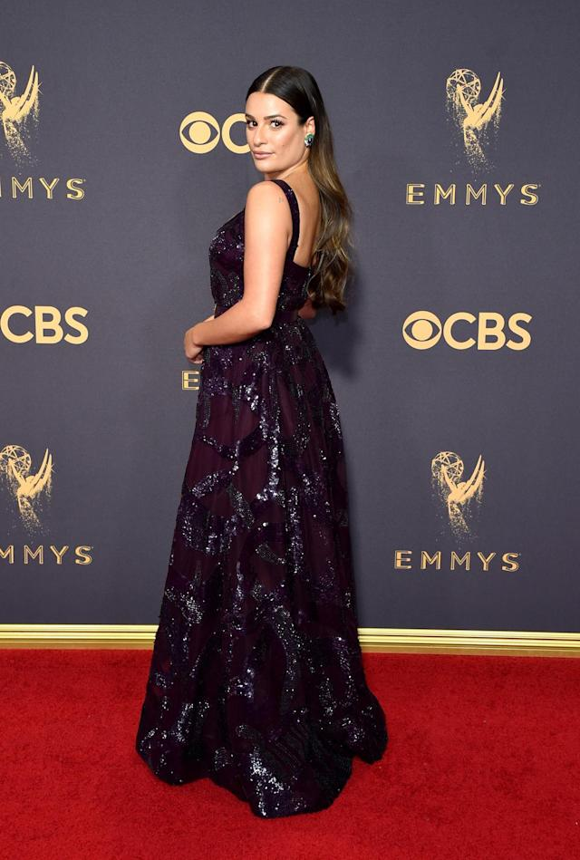 <p>Lea Michele attends the 69th Primetime Emmy Awards on Sept. 17, 2017.<br> (Photo: Getty Images) </p>