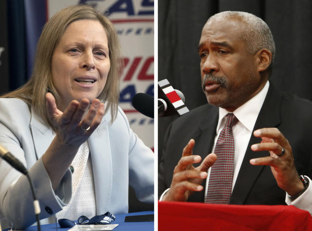FILE - At left, in a March 12, 2020, file photo, Big East Conference Commissioner Val Ackerman speaks to reporters in New York. At right, in a Dec. 4, 2018, file photo, Ohio State athletics director Gene Smith answers questions during a news conference in Columbus, Ohio. The NCAA Board of Governors is expected to weigh in on recommendations to allow athletes to be paid sponsors and profit from their fame in all sorts of ways. The board on Monday and Tuesday, April 27-28, 2020, reviewed detailed recommendations put forth by a working group led by Ohio State athletic director Gene Smith and Big East Commissioner Val Ackerman. (*AP Photo/File