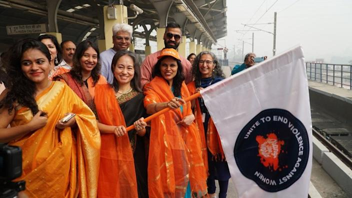 Earlier this month, as part of the global 16 Days of Activism 'Orange the World' campaign, UN Women India and the Ministry of Home Affairs, Government of India flagged off the 'UNiTE to End Violence Against Women' Metro at the Sultanpur Metro station in New Delhi.