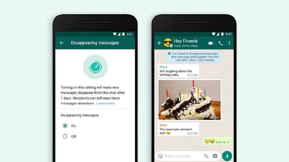 WhatsApp's new disappearing messages feature