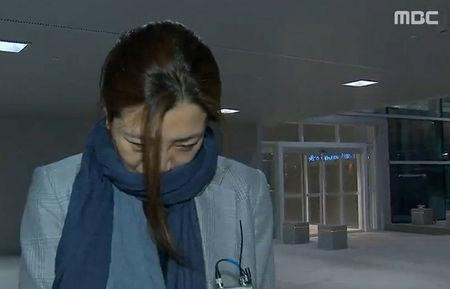 Cho Hyun-min, a senior vice president at Korean Air Lines and a daughter of its chairman Cho Yang-ho, arrives at Incheon International Airport in Incheon, South Korea, in this still image from MBC exclusive news report footage obtained by Yonhap on April 15, 2018.   MBC footage/Yonhap via REUTERS