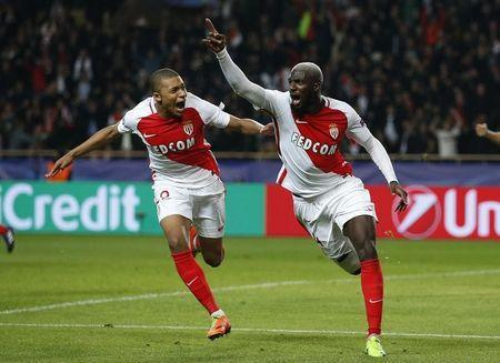 Soccer Football - AS Monaco v Manchester City - UEFA Champions League Round of 16 Second Leg - Stade Louis II, Monaco - 15/3/17 Monaco's Tiemoue Bakayoko celebrates with Kylian Mbappe-Lottin after scoring their third goal Action Images via Reuters / Andrew Couldridge Livepic