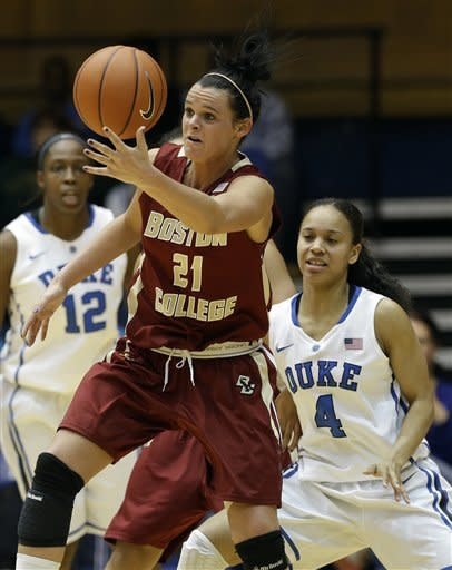 Duke's Chloe Wells (4) guards Boston College's Kristen Doherty (21) during the second half of an NCAA college basketball game in Durham, N.C., Sunday, Jan. 27, 2013. Duke won 80-56. (AP Photo/Gerry Broome)