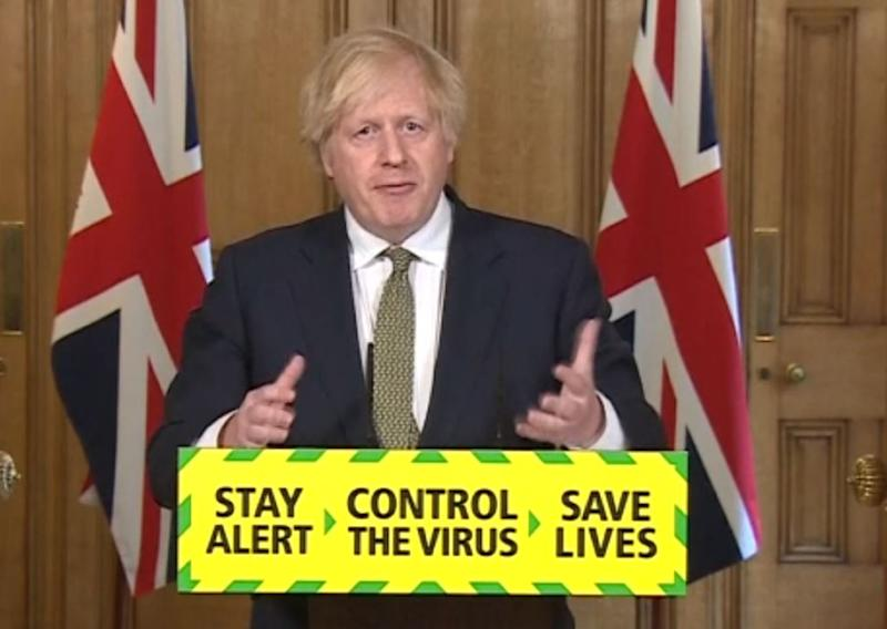 Screen grab of Prime Minister Boris Johnson during a media briefing in Downing Street, London, on coronavirus (COVID-19). (Photo by PA Video/PA Images via Getty Images)