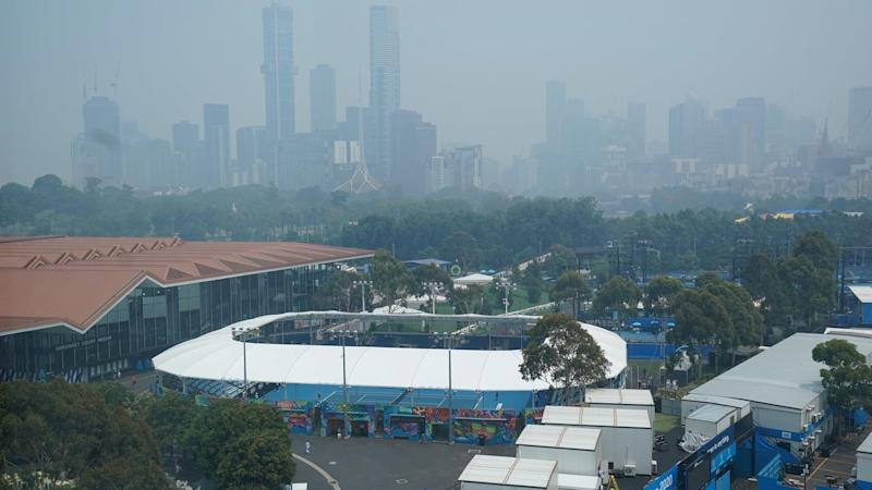 A thick smoke haze over Melbourne from Victorian bushfires has Australian Open organisers on alert