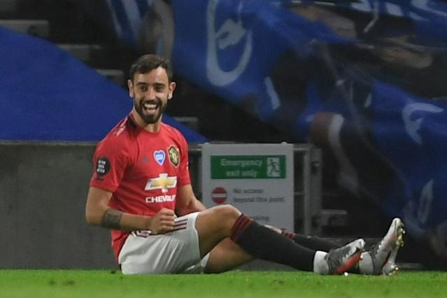 Manchester United midfielder Bruno Fernandes scored twice at Brighton (AFP Photo/Mike Hewitt)