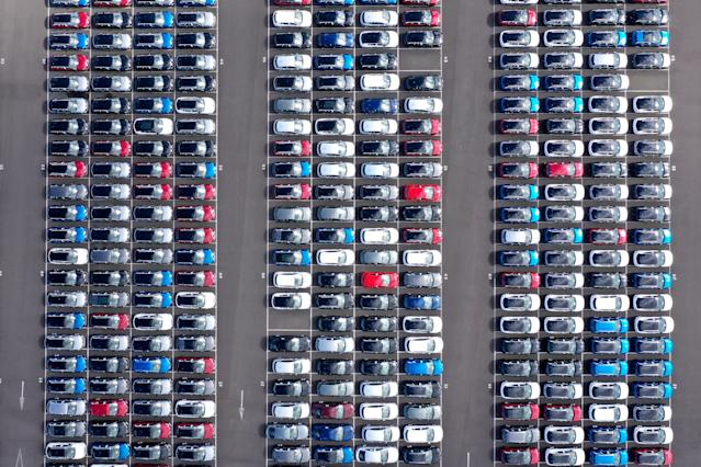 Imported vehicles sit at the docks in Grimsby, England. During the coronavirus lockdown, new car sales dropped 97% in the UK. (Christopher Furlong/Getty Images)