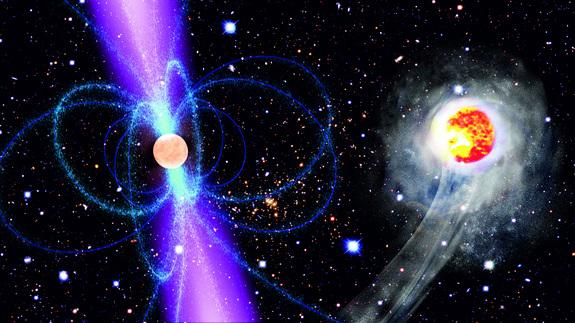 This artist's impression shows the speedy companion (right) as it races around the pulsar PSR J1311-3430 (left). The energetic gamma-radiation emitted by the pulsar heats and consequently evaporates the companion. The pulsar, which completes on