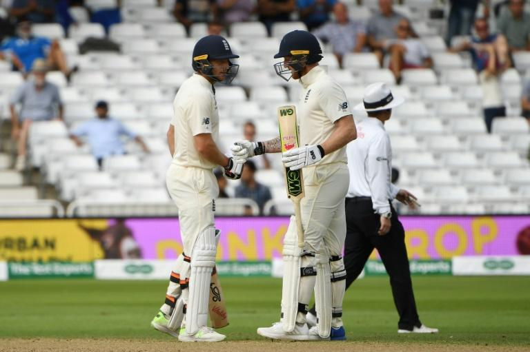 England's Jos Buttler and Ben Stokes celebrated reaching a century partnership as they frustrated India on Tuesday afternoon
