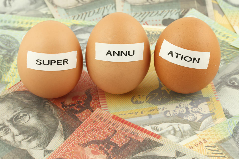 Picture of three eggs labelled 'super' 'annu' 'ation' on a bed of money. Your default life insurance cover will disappear under the superannuation changes kicking in on 1 July 2019.
