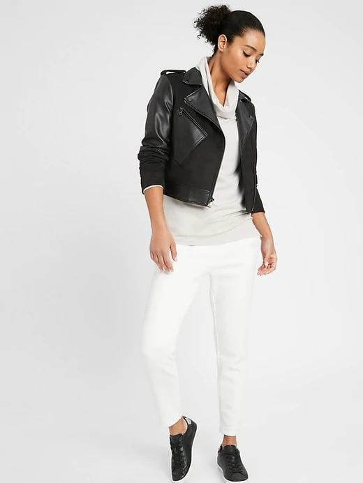 <p>This <span>Banana Republic Baby Terry Cowl Neck Sweatshirt</span> ($29, originally $50) looks great under a cropped jacket. </p>