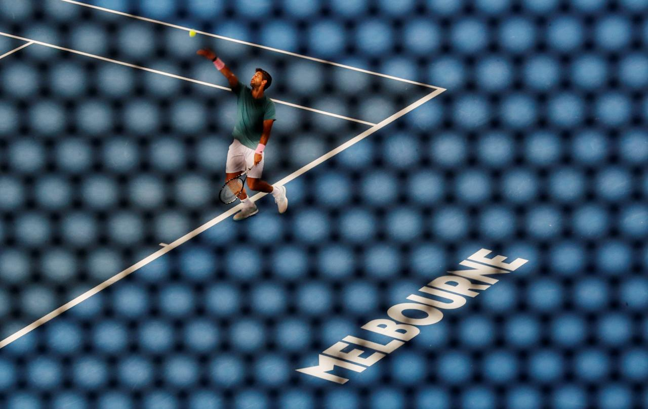 Tennis - Australian Open - Third Round - Melbourne Park, Melbourne, Australia, January 18, 2019. Spain's Fernando Verdasco in action during the match against Croatia's Marin Cilic. REUTERS/Adnan Abidi     TPX IMAGES OF THE DAY