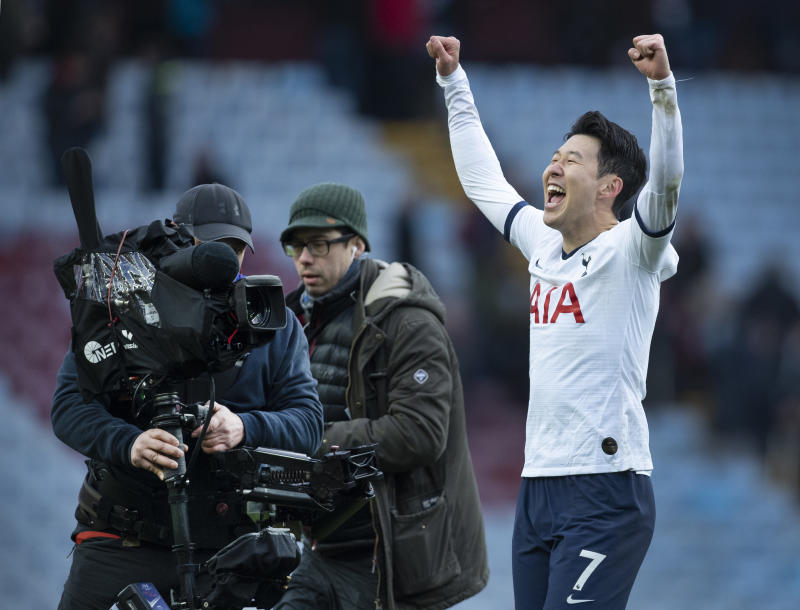 BIRMINGHAM, ENGLAND - FEBRUARY 16: Son Heung-Min of Tottenham Hotspur celebrates at the final whistle with TV cameras filming him after the Premier League match between Aston Villa and Tottenham Hotspur at Villa Park on February 16, 2020 in Birmingham, United Kingdom. (Photo by Visionhaus)