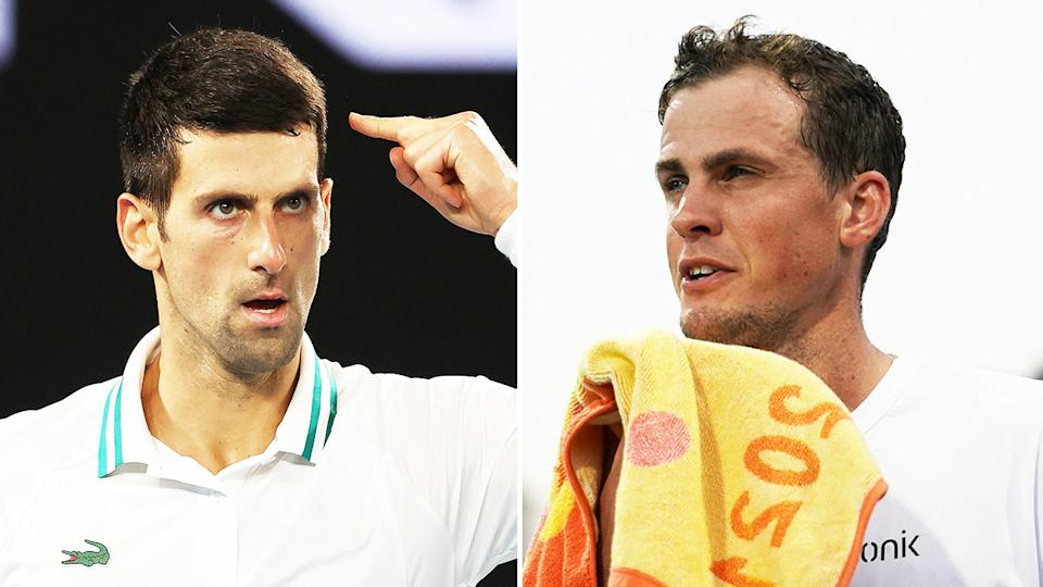 Novak Djokovic (pictured left) pointing to his head at the Australian Open and Vasek Pospisil (pictured right) fuming at the Miami Open.