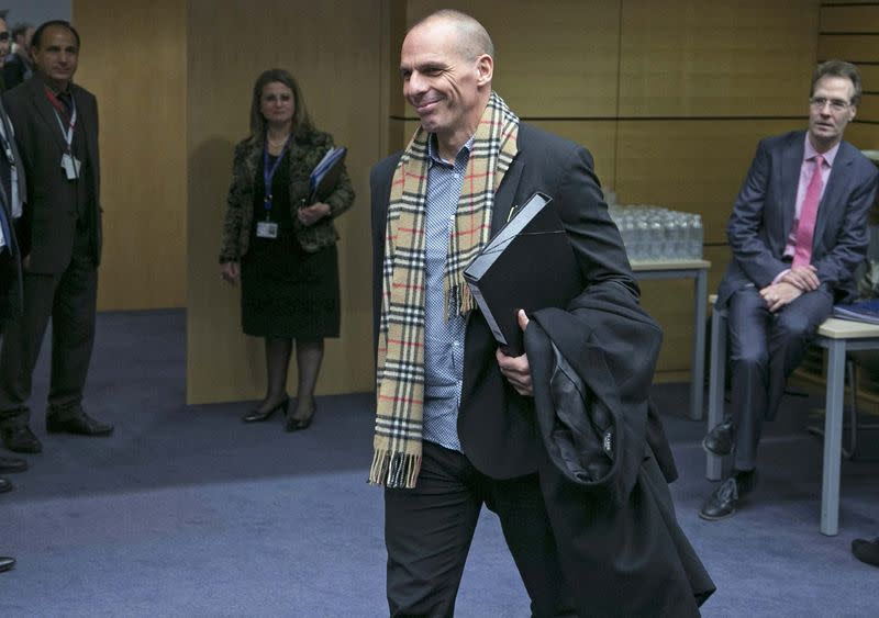 Greek Finance Minister Varoufakis arrives at an extraordinary euro zone Finance Ministers meeting in Brussels
