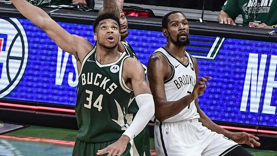 Kevin Durant back to back with Giannis Antetokounmpo Game 3