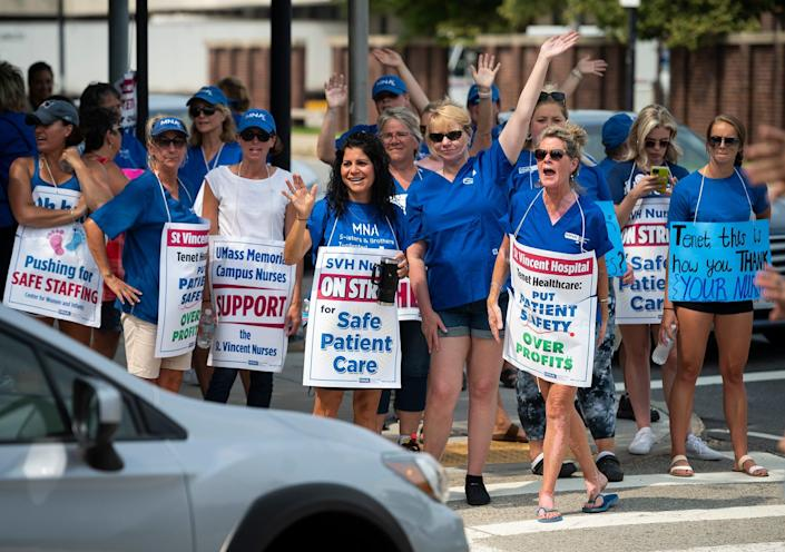 Nurses at St. Vincent Hospital in Worcester, Mass., went on strike March 8 demanding better staffing ratios, which they said is necessary to ensure patient safety.