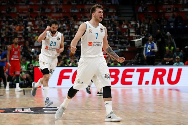 Basketball - EuroLeague Final Four Semi Final A - CSKA Moscow vs Real Madrid - ?Stark Arena?, Belgrade, Serbia - May 18, 2018 Real Madrid's Luka Doncic celebrates during the match REUTERS/Alkis Konstantinidis