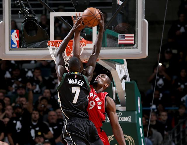 Thon Maker and the Bucks seized the moment and devastated Serge Ibaka's Raptors in Game 3. (Getty Images)